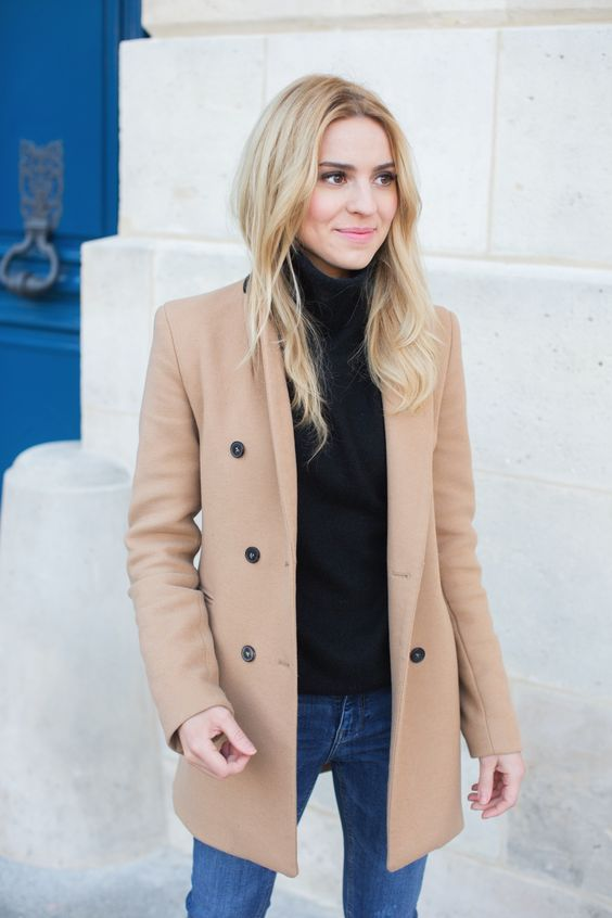 a black turtleneck, blue denim, a camel short coat for a simple fall look