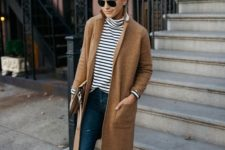 08 a striped top, ripped jeans, amber shoes and a camel coat for a relaxed weekened look