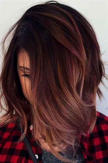 Picture Of Auburn Hair With Rose Gold Ombre Touches For A Textural
