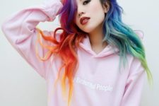 08 long wavy locks dyed in rainbow colors for a statement informal look