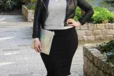 08 neutral velvet shoes, a black pencil skirt, a grey top, a black leather jacket and a clutch