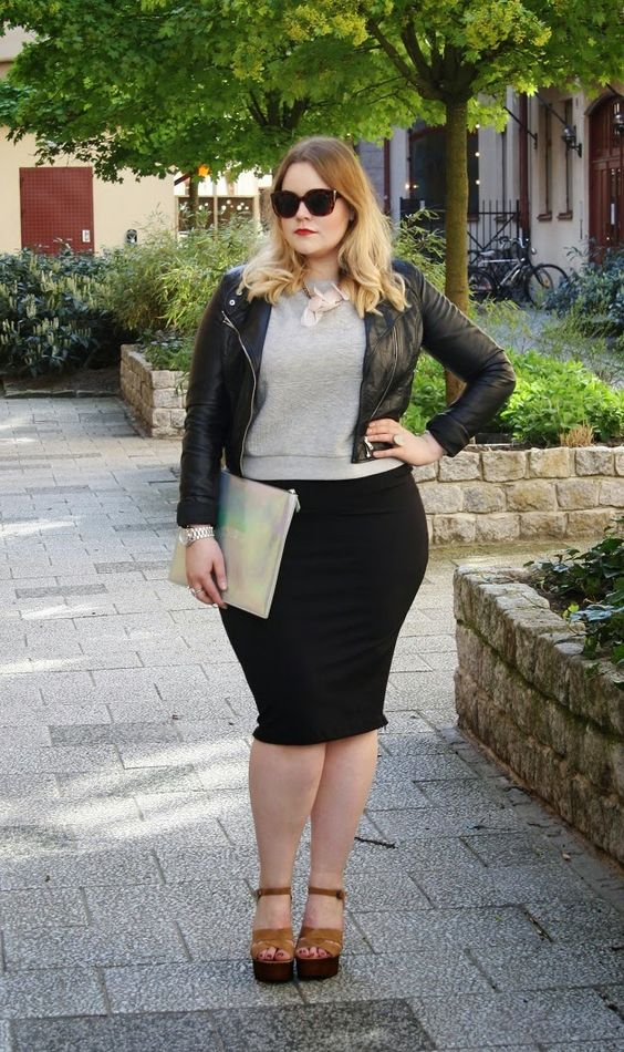 neutral velvet shoes, a black pencil skirt, a grey top, a black leather jacket and a clutch