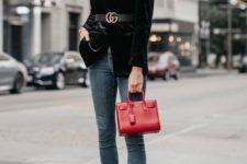 08 slate grey skinnies, black heels, a black velvet blazer with statement shoulders and a red bag