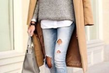 09 a white shirt, a grey sweater, blue ripped denim, nude shoes and a camel coat