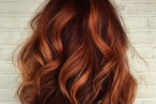 09 auburn should length hair with copper balayage and loose waves is a trendy idea for fall
