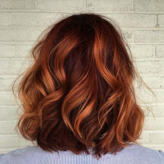 auburn should length hair with copper balayage and loose waves is a trendy idea for fall