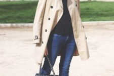 09 fall classics with navy skinnies, a black turtleneck, black flats and a tan short trench