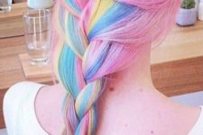 09 pink hair with a long rainbow braid is a bold and fun idea to rock