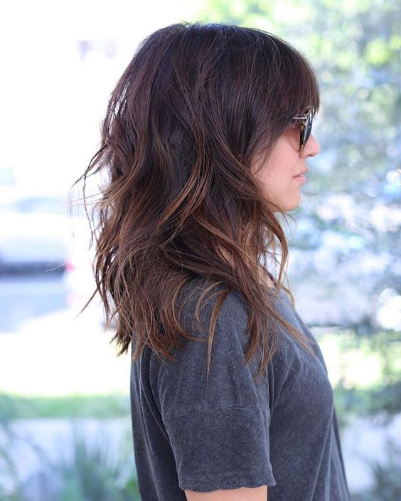 such layers and chestnut balayage bring a lot of texture to the haircut