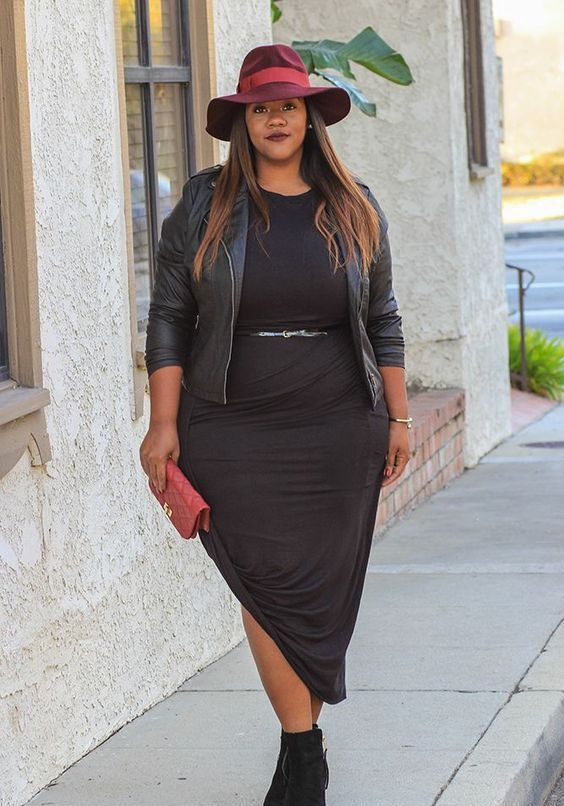 suede booties, a black midi dress, a black leather jacket and a fuchsia hat