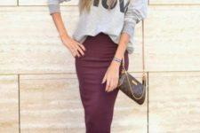 10 a grey printed sweatshirt, a burgundy midi pencil skirt, blakc heels for a casual work look