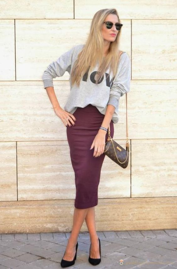 a grey printed sweatshirt, a burgundy midi pencil skirt, blakc heels for a casual work look