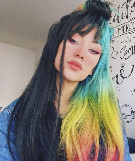 a half head in black and half head in rainbow will make you look outstanding