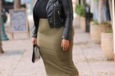 10 an olive green midi pencil skirt, a black top, a black leather jacket, chic booties and a clutch