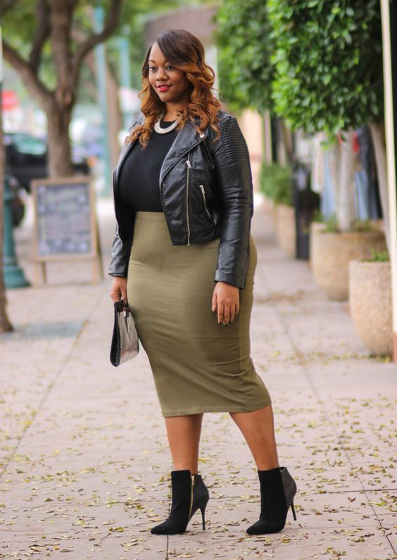 an olive green midi pencil skirt, a black top, a black leather jacket, chic booties and a clutch