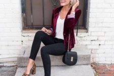 10 black skinnies, a white top, leopard shoes and a plum-colored velvet blazer