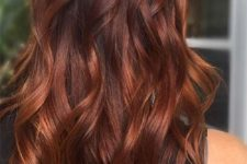 10 long auburn hair with a dark root and loose waves for a party