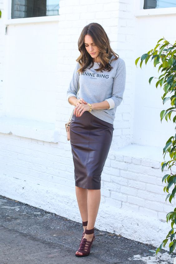 a grey printed sweatshirt, a burgundy pencil skirt, burgundy strappy shoes for a date