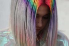 11 a long bob with bright rainbow dying at the root to wow