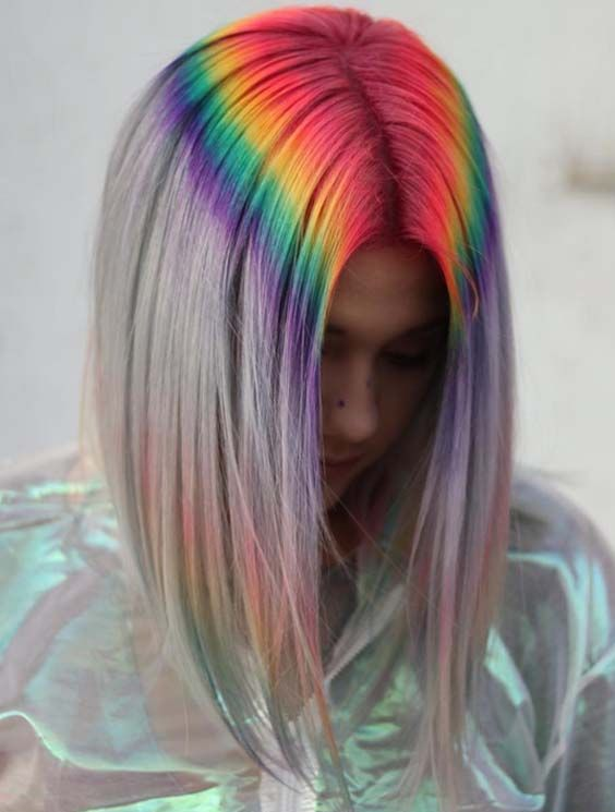 a long bob with bright rainbow dying at the root to wow