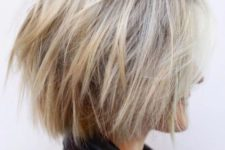 11 a shaggy blonde balayage short bob with a texture is a modern and cool idea