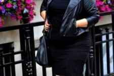 11 black booties, a black fitting knee dress, a blakc leather jacket and a black bag