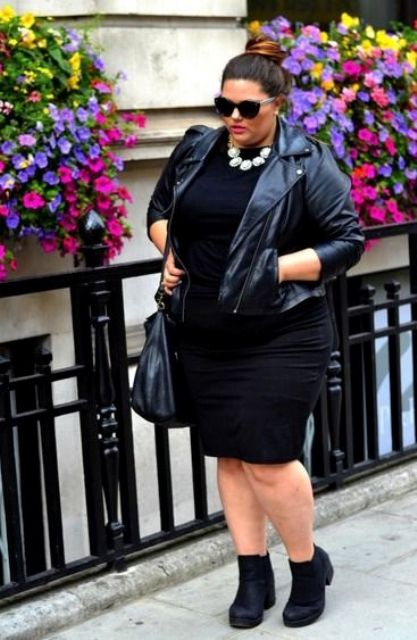 black booties, a black fitting knee dress, a blakc leather jacket and a black bag