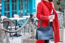 11 black skinnies, a white tee, leopard shoes and a bright red coat to make a statement