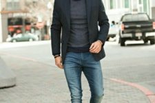 11 blue denim, a grey long sleeve top, a black blazer and grey suede shoes