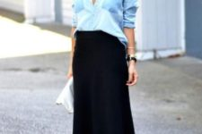 12 a black midi skirt, a chambray shirt, strappy heels for a chic date look