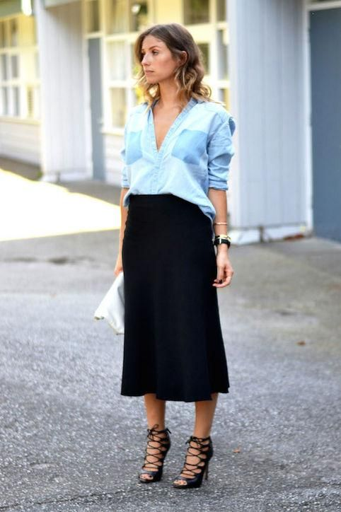 a black midi skirt, a chambray shirt, strappy heels for a chic date look