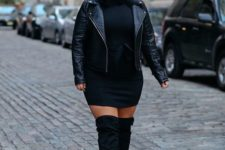 12 a black sweater dress, black suede boots, a black leather jacket for winter