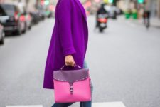 12 a bright purple coat, pink shoes and a bag and blue skinnies