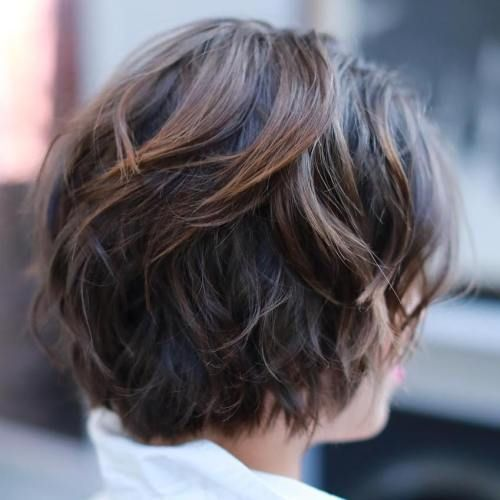 a layered shaggy chestnut balayage bob haircut is a chic and frehs idea