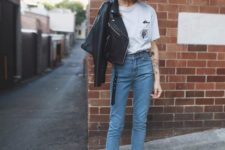 12 a printed tee, blue cropped jeans, printed shoes and a black cropped leather jacket