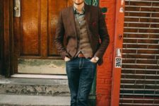 12 blue denim, a printed shirt, a brown waistcoat and blazer plus brown shoes for a vintage feel