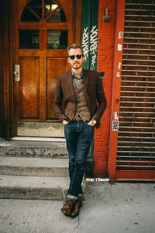 blue denim, a printed shirt, a brown waistcoat and blazer plus brown shoes for a vintage feel