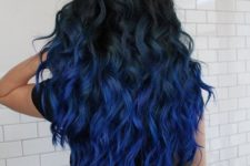 12 bold thick hair with ombre from black to bright blue and lots of waves to impress