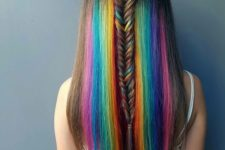 12 chestnut hair with bright rainbow dying that highlights the length