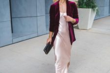 13 a blush silk slip dress with a side slit, a plum-colored velvet blazer and black shoes