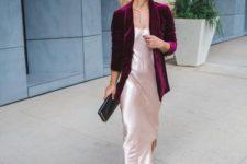 13 a blush silk slip dress with a side slit, a plum-colored velvet blazer and black shoes
