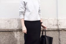 13 a grey sweatshirt, a black midi pencil skirt and black sneakers for an everyday look