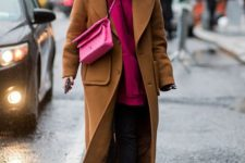13 a mustard coat, white sneakers, a bright pink hoodie and bag for a casual yet bold look
