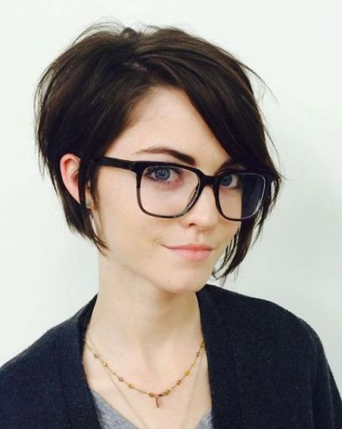 a short bob with side bangs is a refined idea and layers give the hair a dimension