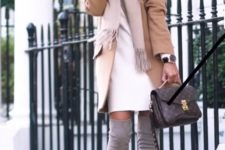 13 a white dress, grey suede tall boots, a blush scarf and a camel coat plus a comfy bag