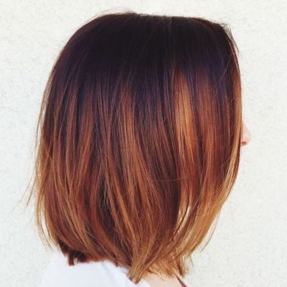 long bob from deep plum to auburn and copper and gold - the whole fall palette in one