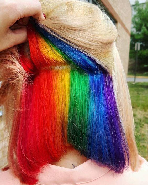 naturally blonde hair with a hidden rainbow inside to look like a fairy