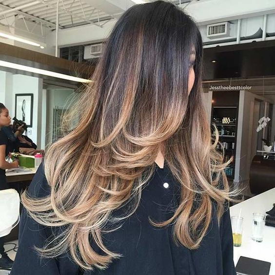 a long layered haircut with ombre to highlight the locks and layers even more