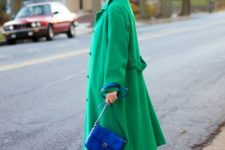 14 an emerald coat, black booties and a bright blue bag for a super bold look