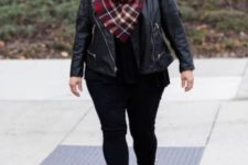 14 black jeans, a black top, a checked scarf and burgundy peep toe booties